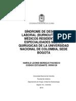Bournout en Medicos Residentes de Especialidades Mqx