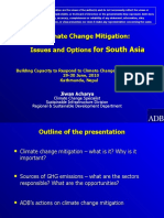 Climate Change Mitigation Issues and Options for South Asia