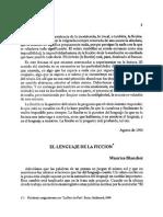 Blanchot El Lenguaje de La Ficcion