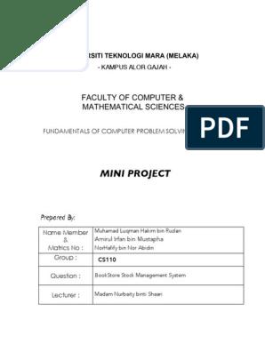 Csc128 Mini Project Bookstore Management System Algorithms Usability