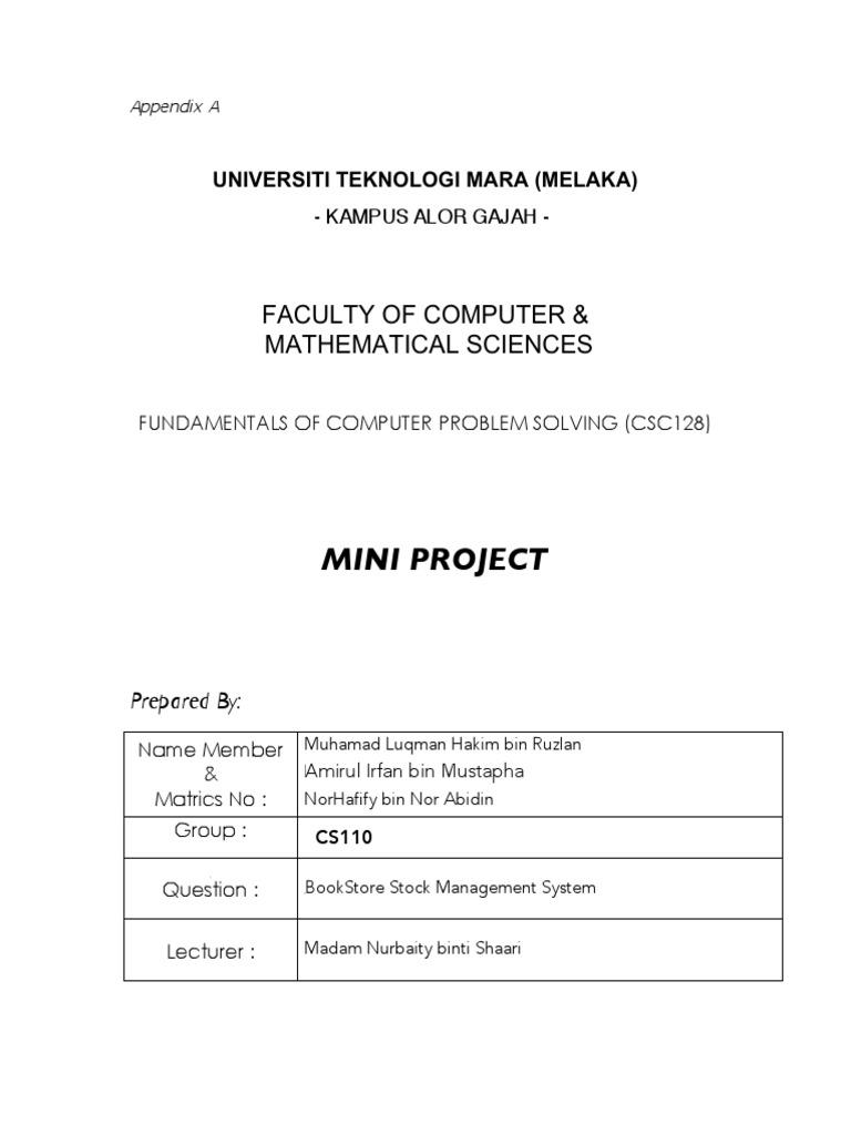 CSC128 - MINI PROJECT : Bookstore Management System ...