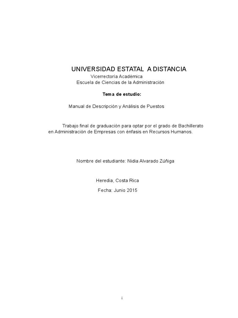 Manual y Descripción de Puestos Para Supermercado Monte Horeb