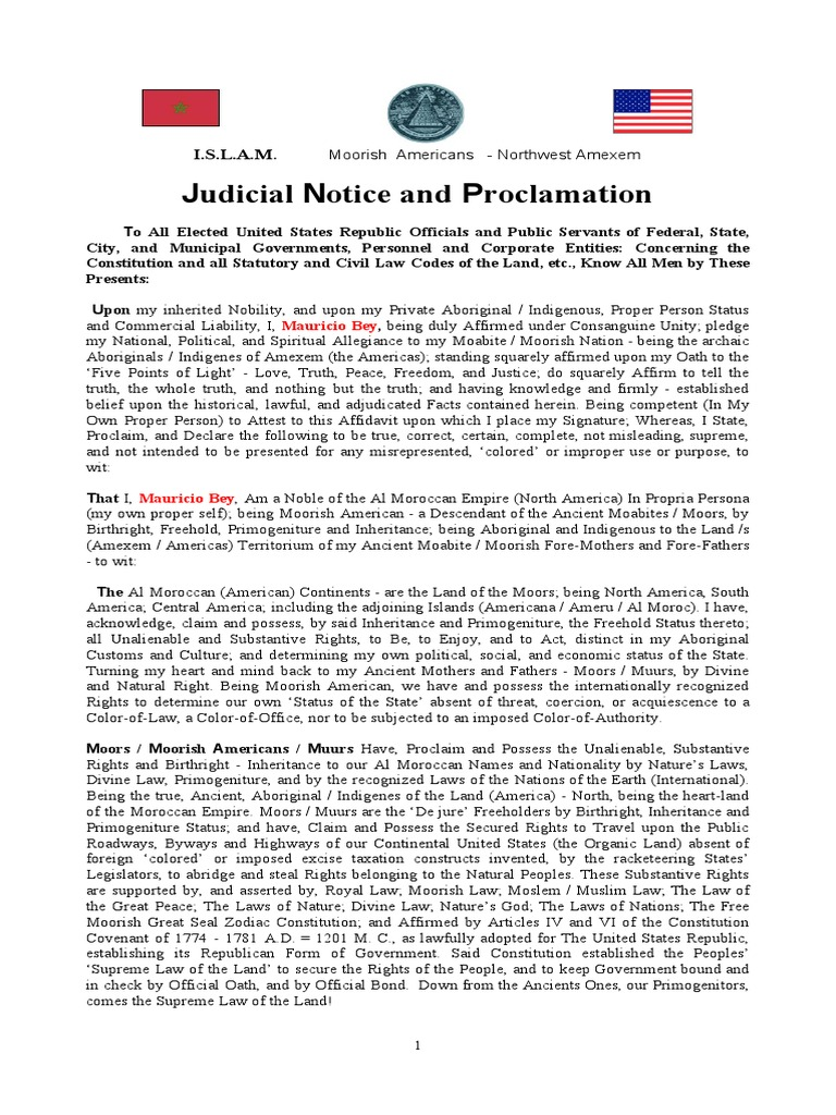 Mauricio Bey Judicial Notice and Proclamation | United