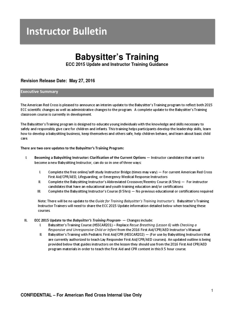 Babysitters Training Instructor Bulletin May 2016 V4 First Aid
