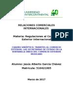 Cuadro Sinóptico. Trámites Al Comercio Exterior Las Secretarías de Estado en La Ventanilla Única de Comercio Exterior Mexicano