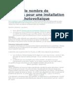Calculer Le Nombre de Batteries Pour Une Installation Solaire Photovoltaïque