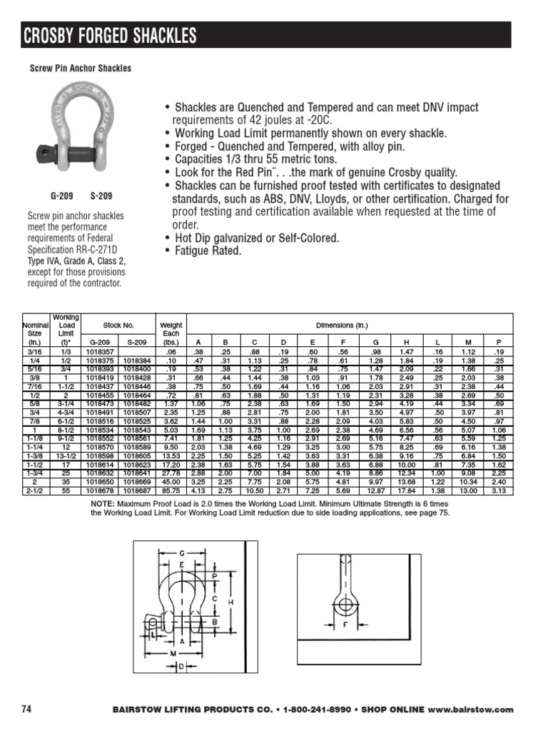 1-3//8 Size Crosby 1019383 Carbon Steel S-210 Screw Pin Chain Shackle Self-Colored 13-1//2 Ton Working Load Limit