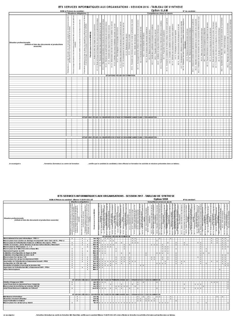 bts sio e6 tableau des synthese 2017 efc