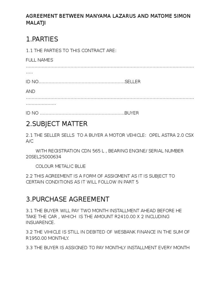 Agreement Car Seller