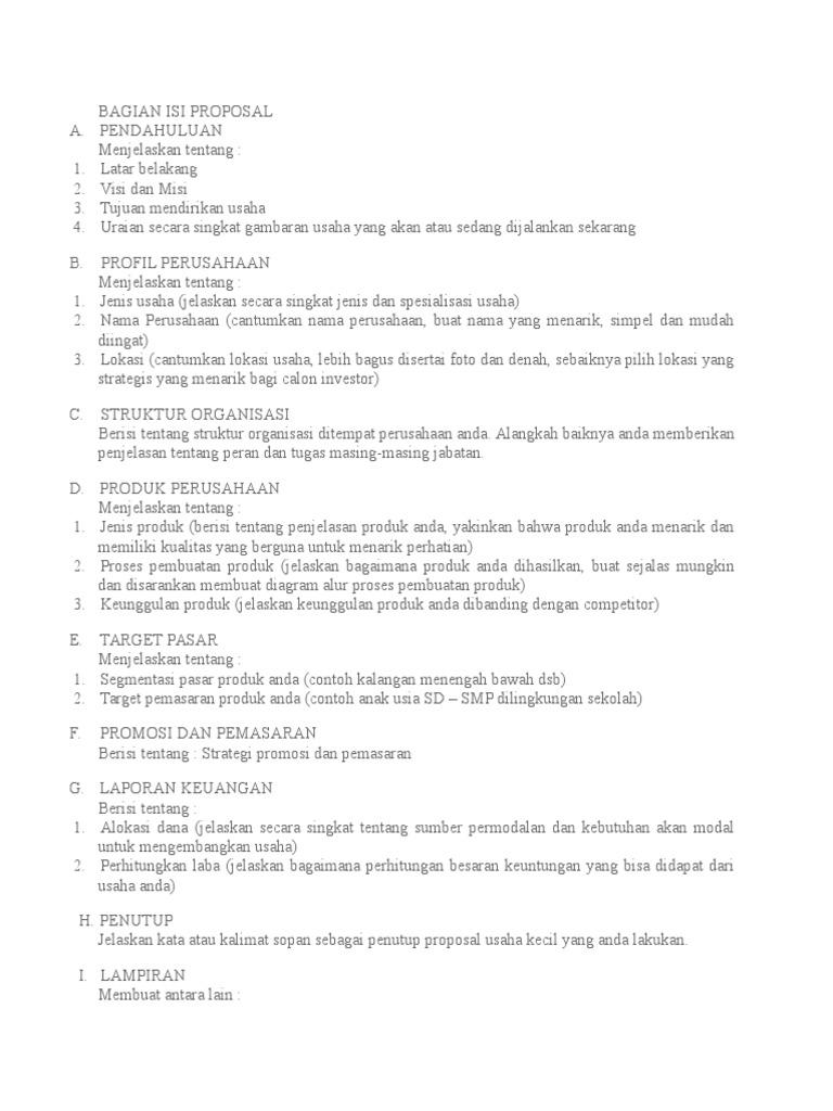 Struktur Proposal Usaha