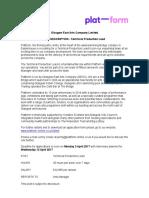 Platform Technical Production Lead Job Description