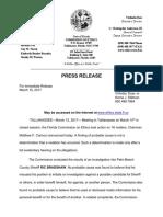 Florida Ethics Commission statement
