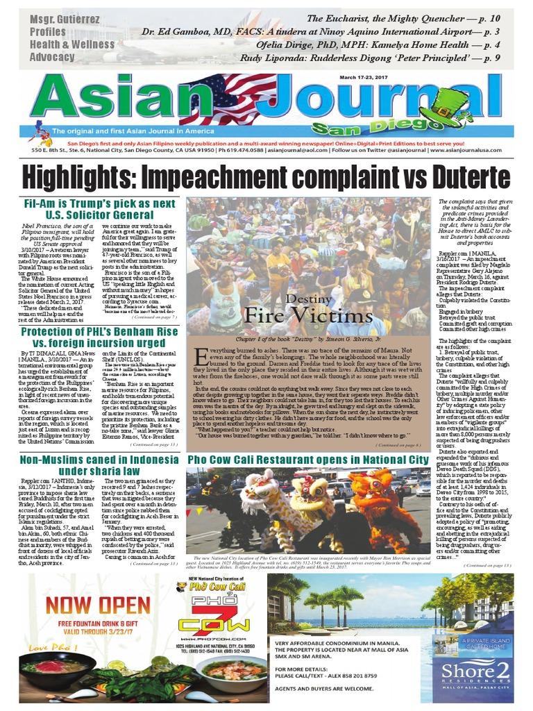Asian journal march 17 2017 edition rodrigo duterte philippines fandeluxe Images