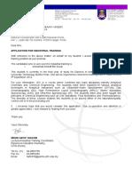 DIC - Surat Permohonan Bagi Menjalani Latihan Industri Kualiti Makanan