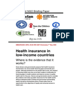 Health Insurance in Low Income Countries