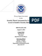 Privacy_pia_tsa_security Threat Assessment for Conditional Access to Sensitive Security Information_august 2014