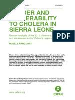 Gender and Vulnerability to Cholera in Sierra Leone