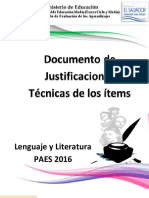 Justificaciones Paes 2016 Lenguaje y Literatura