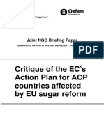 Critique of the European Commission's Action Plan for African, Caribbean, and Pacific Countries Affected by EU Sugar Reform