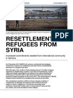 Resettlement of Refugees from Syria