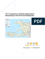 Report On Transparency of Relief Organizations Responding to the 2010 Haiti Earthquake
