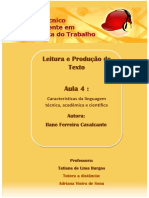 Características Linguagem Técnica