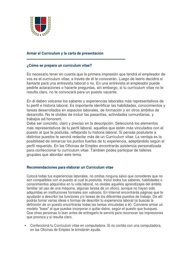 Armar El Currículum y La Carta de Presentación