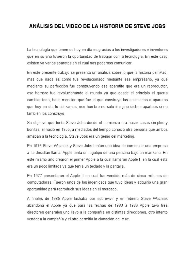 Analisis Del Video De La Historia De Steve Jobs