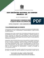 Edital Compedi Brasília 2017