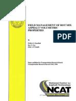 Field Management of Hot Mix Asphalt Volumetric Properties