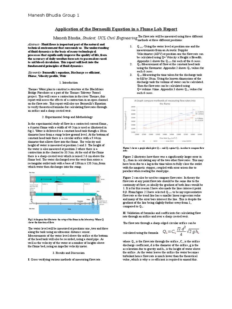 bernoulli equation lab report