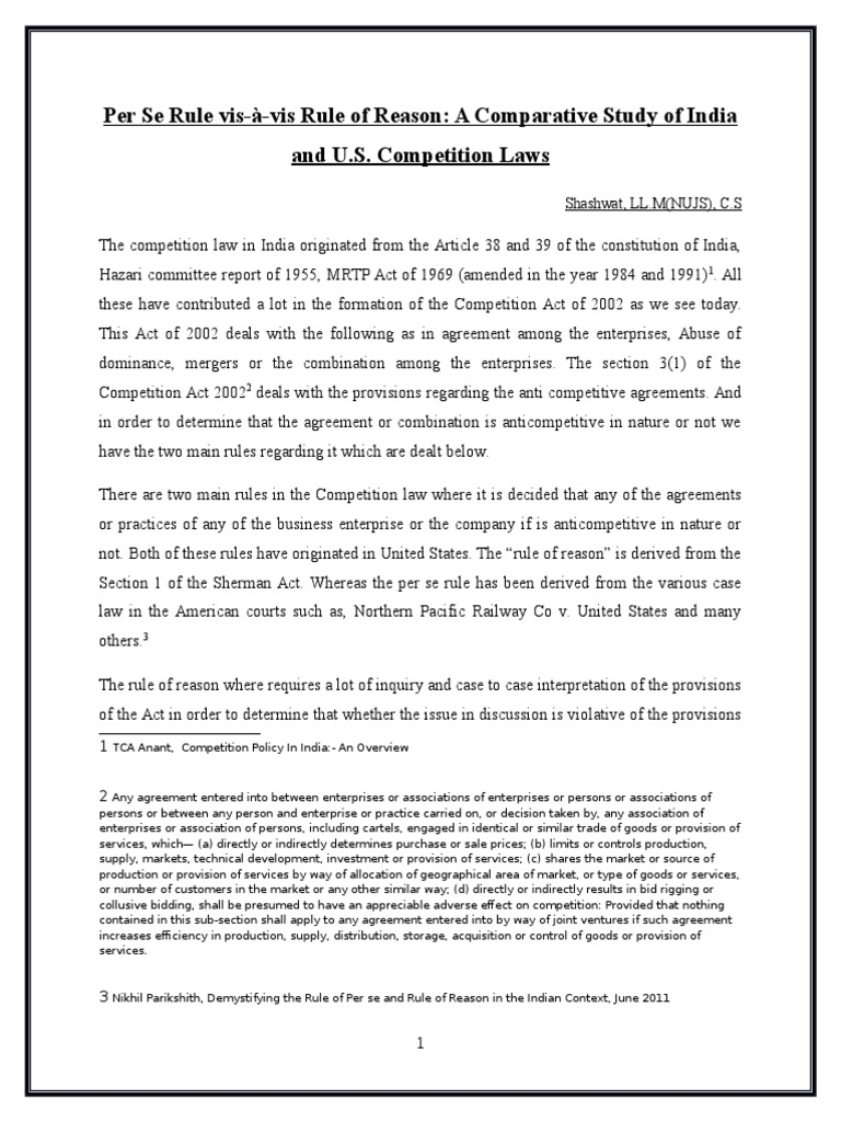 Competition Law Sherman Antitrust Act Restraint Of Trade