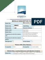 Managerial Accounting Module Descriptor