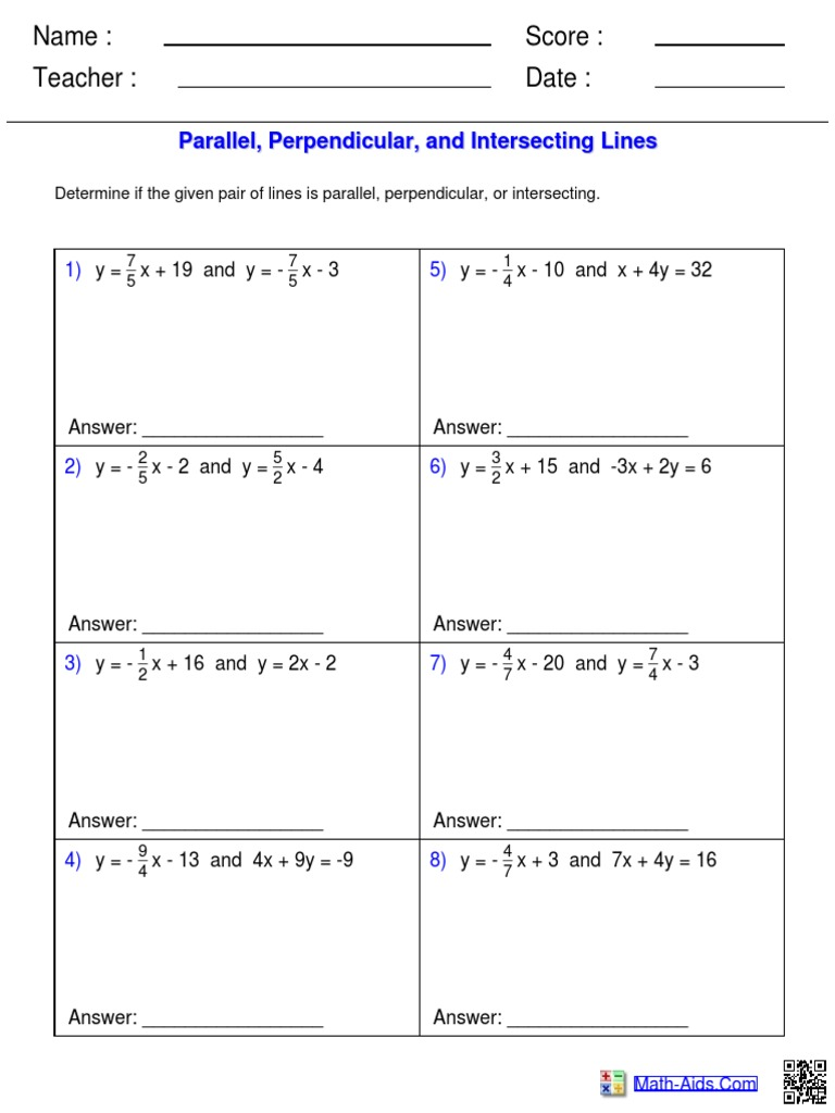 worksheet Parallel Perpendicular Intersecting Lines Worksheet parallel and perpendicular lines worksheet equivalent ratios free answers 1495266348 answershtml
