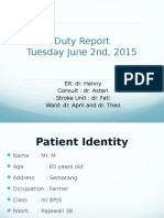 Ward Unit Duty Report 02 June 2015