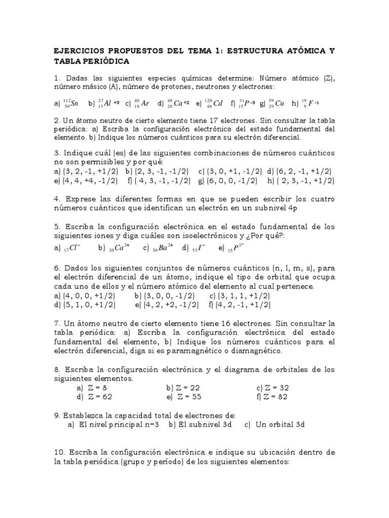 Ejercicios propuestos de estructura atmica y tabla peridica urtaz Image collections