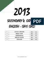 2013 Sec4 English Sa1 - Sa2
