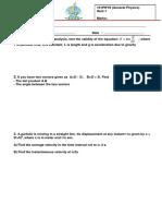 Quiz 1, 101Phys