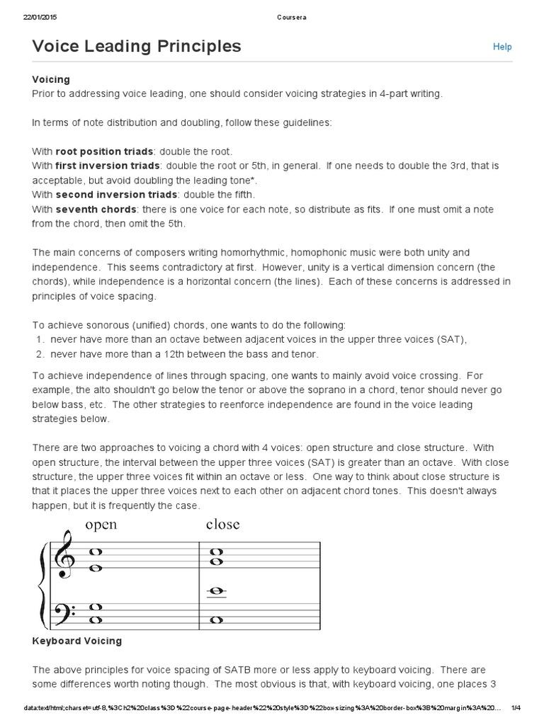Coursera Voice Leading Principles Chord Music Harmony