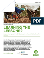 Learning the Lessons? Assessing the response to the 2012 food crisis in the Sahel to build resilience for the future