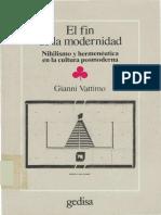 Muerte o Crepusculo Del Arte Vattimo Gianni El Fin de La Modernidad