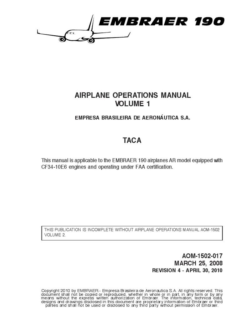 e190 Airplane Operations Manual Aom 1502 017 Rev 04 Apr 30 2010 | Aircraft  | Aviation