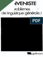 [Emile Benveniste] Problemes de Linguistique Generale