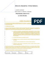 Programa Analitica La Disciplina Limba Italiana