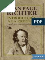Introducción a La Estetica Jean Paul Richter