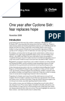 One Year After Cyclone Sidr: Fear replaces hope