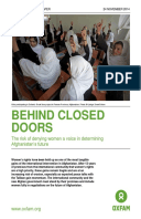 Behind Closed Doors: The risk of denying women a voice in determining Afghanistan's future