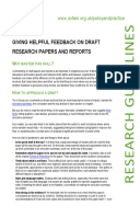 Giving Helpful Feedback on Draft Research Papers and Reports