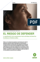 The Risks of Defending Human Rights: The rising tide of attacks against human rights activists in Latin America
