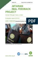 Humanitarian Informal feedback project: Za'atari Refugee Camp, Jordan. Evaluation report 2015/16